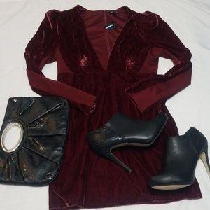 NWT Defect Express Burgandy Velvet Dress